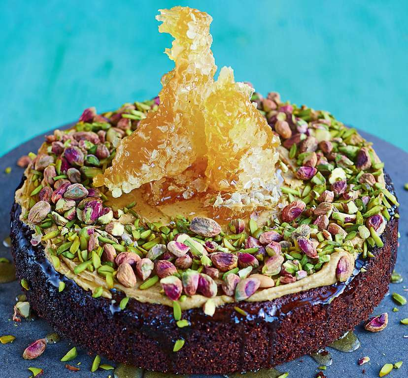 Pistachio Cake with Fresh Honeycomb