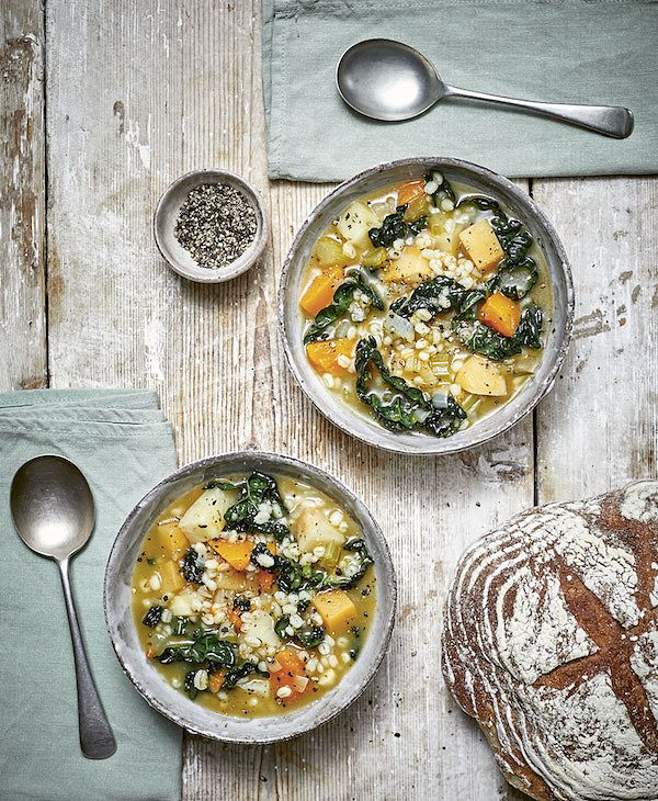 The Plant Power Doctor Lunch vegetable barley soup