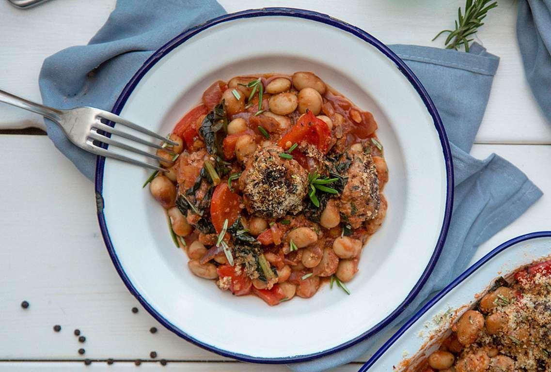 Pork meatball & butter bean casserole