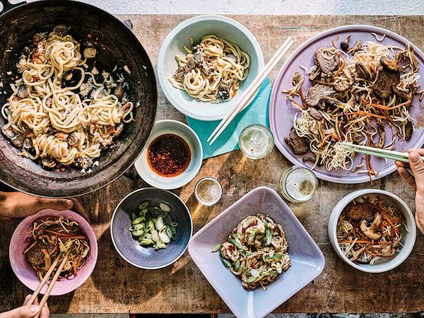 Chinese Pork with Crispy Noodles & Yellow Bean Sauce from The Noodle Cookbook