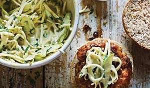 Pork and Apple Burgers with Celeriac Slaw