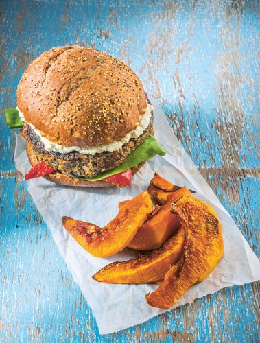 Portobello Pecan Burger with Roasted Pumpkin Wedges - The Happy Foodie