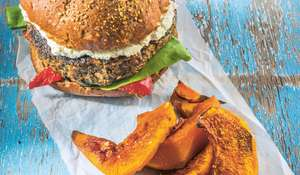 Portobello Pecan Burger with Roasted Pumpkin Wedges