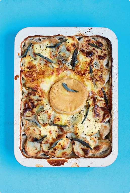 Rich Potato and Mushroom Gratin with Cream and Reblochon