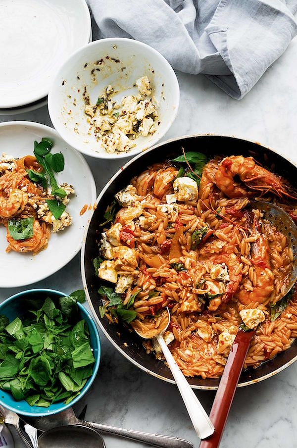 Orzo with Prawns, Tomato and Marinated FetafromOttolenghi SIMPLE by Yotam Ottolenghi