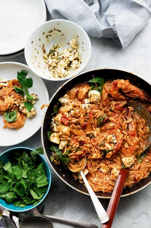Ottolenghi's Orzo with Prawns, Tomato and Marinated Feta