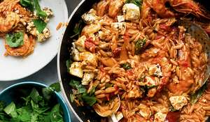Ottolenghi's Orzo with Prawns, Tomato and Feta Recipe