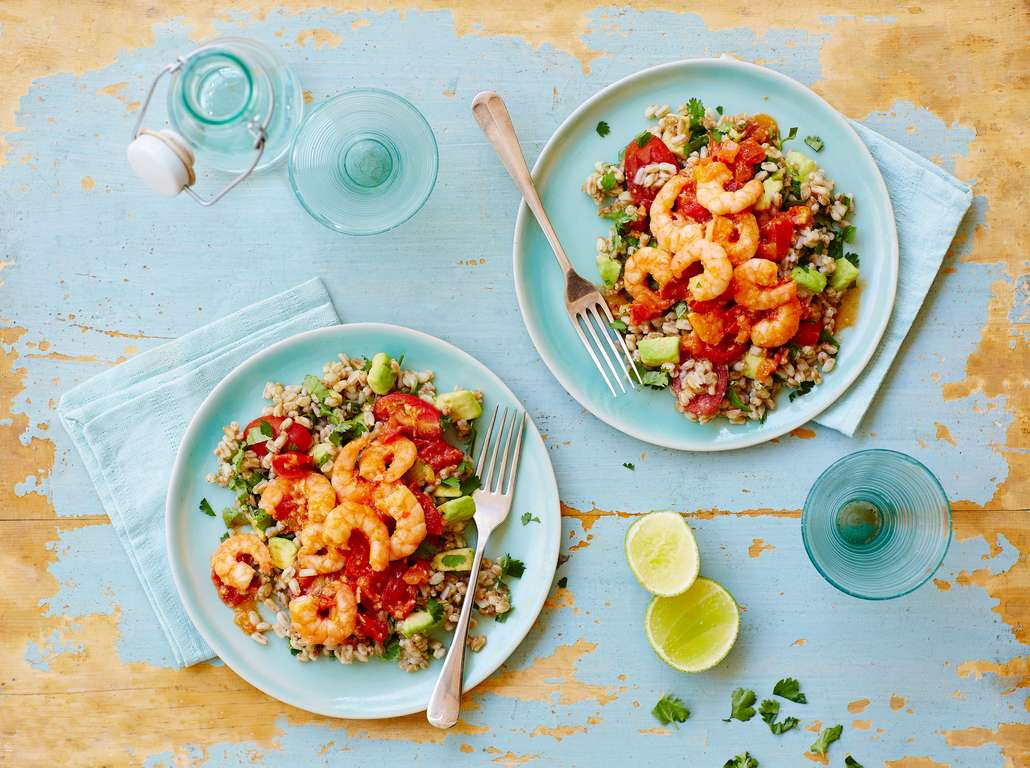 Spicy Prawns with Lime, Farro and Coriander