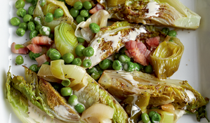 Braised Leeks, Peas and Little Gems