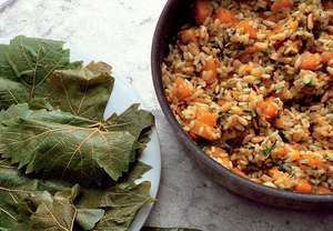 Stuffed Vine Leaves with Summer Squash, Rice and Pine Nuts