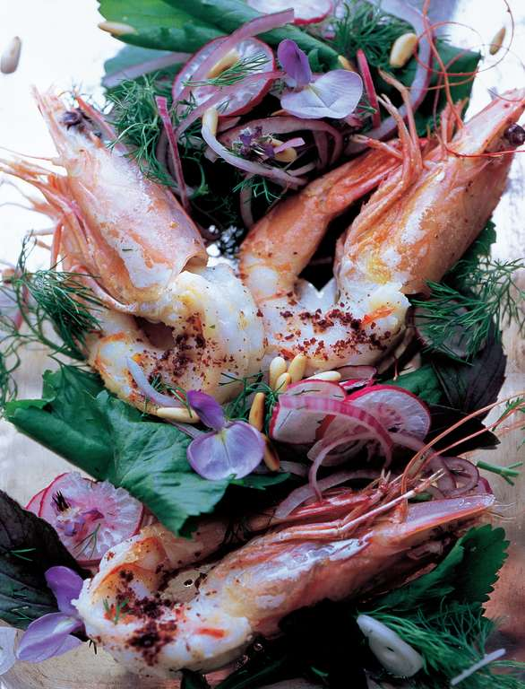 Warm King Prawn Salad with Pink Radish and Red Onion