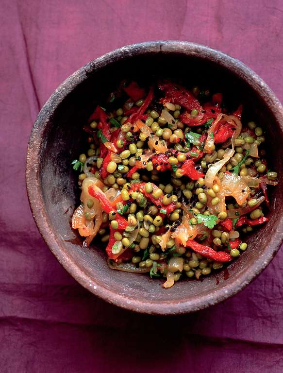 Mung Beans with Caramelised Onions and Nigella Seeds