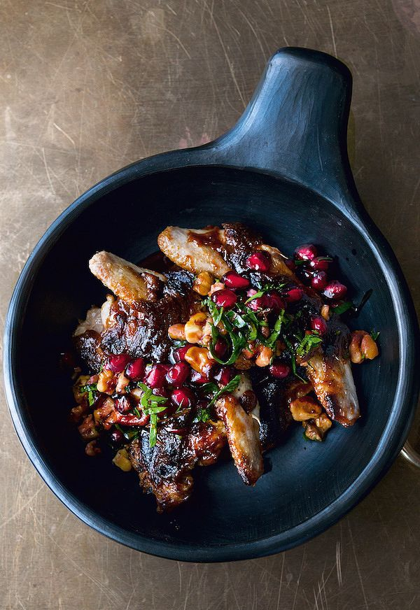 best pomegranate recipes quails with pomegranate and walnut salsa nopi ottolenghi