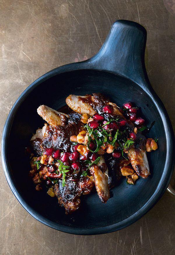best pomegranate recipes quails with pomegranate and walnut salsa nopi ottolenghi