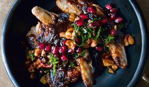 Quails with Burnt Miso Butterscotch, and Pomegranate and Walnut Salsa from NOPI: The Cookbook