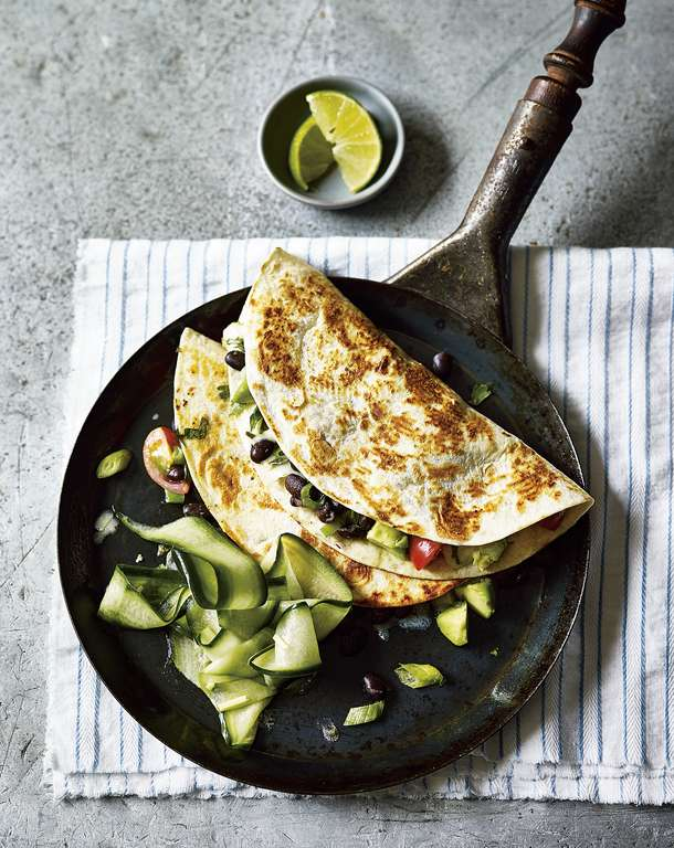 Avocado and Black Bean Quesadillas with Pickled Cucumber