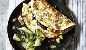 Avocado and Black Bean Quesadillas with Pickled Cucumber Recipe