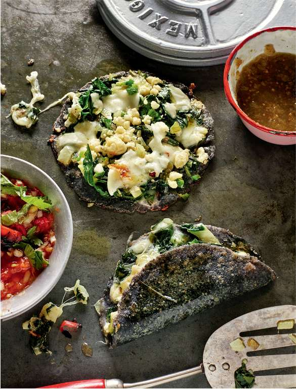 Blue Corn & Cheese Quesadillas with Courgette Flowers