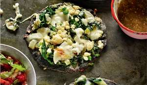 Rick Stein's Blue Corn & Cheese Quesadillas with Courgette Flowers