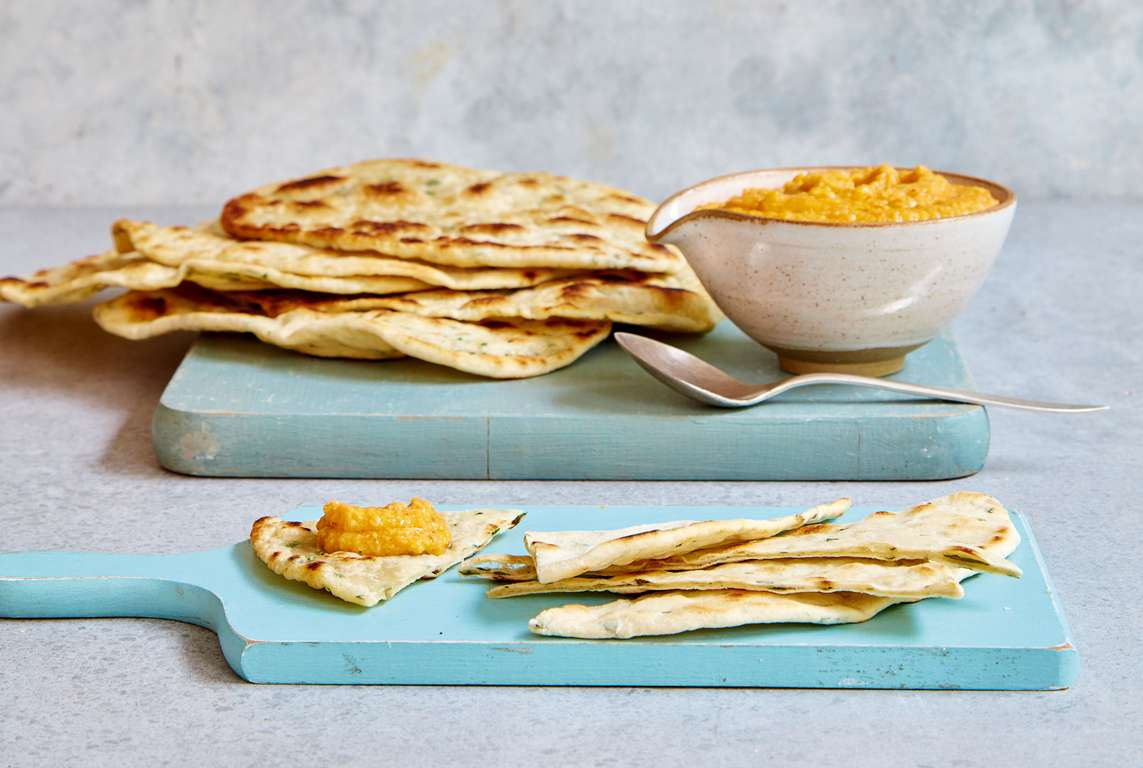 Mary Berry's Spiced Carrot Hummus with Garlic Herb Flatbread