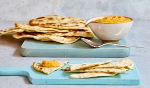 Mary Berry Carrot Hummus with Garlic Herb Flatbread Recipe | BBC 2 Quick Cooking