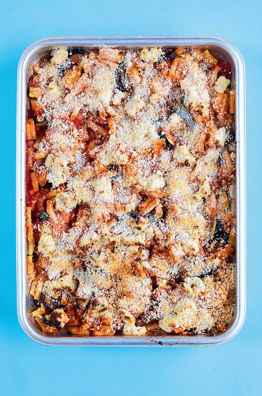 roasted aubergine courgette macaroni bake rukmini iyer the roasting tin best courgette recipes