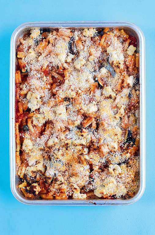 Roasted Aubergine, Courgette and Macaroni Bake