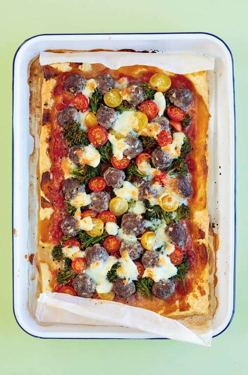 Quick Meatball Pizza with Cherry Tomatoes and Mozzarella