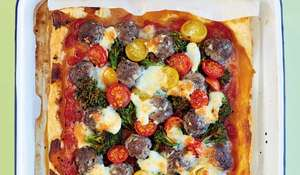 Quick Meatball Pizza with Cherry Tomatoes and Mozzarella Recipe