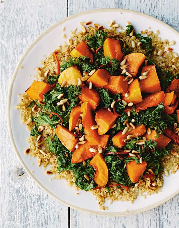 Quinoa with Orange-Chilli Kale and Roasted Butternut Squash