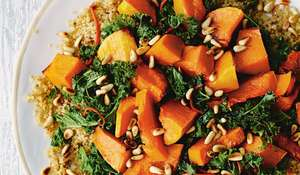 Quinoa with Orange-Chilli Kale and Roasted Butternut Squash from Naturally Sassy