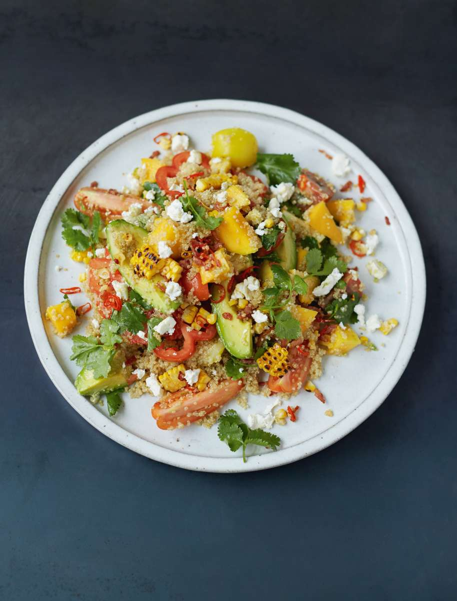 Grilled Corn And Quinoa Salad Mango Tomatoes Herbs Avo Feta