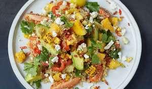 Grilled Corn and Quinoa Salad Mango, Tomatoes, Herbs, Avo, Feta - Jamie Oliver's Everyday Super Food