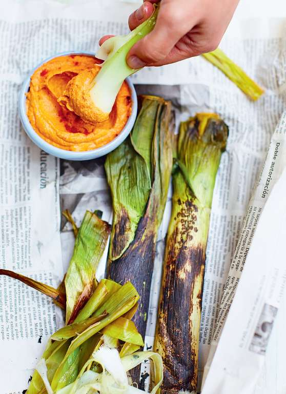 Burnt Leek Parcels with Romesco Sauce