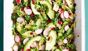 One-pan Rainbow Tabbouleh with Avocado, Radishes and Pomegranate Recipe