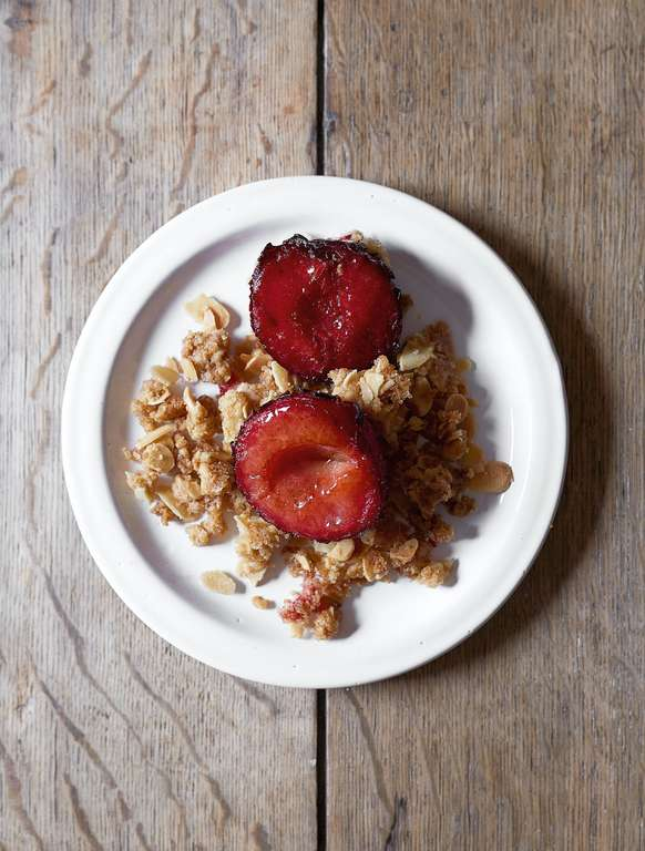 Roast Plum Bake with Streusel Crumble