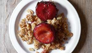 Roast Plum Bake with Streusel Crumble Recipe Britain's Best Home Cook
