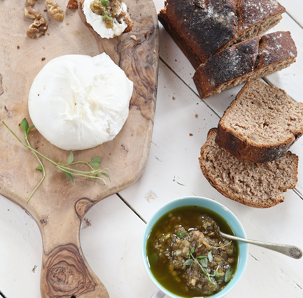 alternative flour bread recipes rye loaf with burrata and pesto the recipe wheel