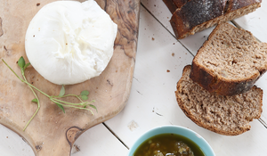 Walnut Rye with Burrata and Honey Nut Pesto