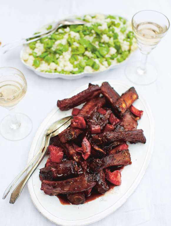 Ribs aux Cassis avec Couscous à la Menthe et Fèves - Sticky Cassis Pork Ribs with Mint and Broad Bean Couscous
