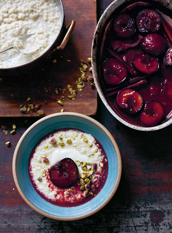 Cardamom and Orange Rice Pudding with Roasted Plums