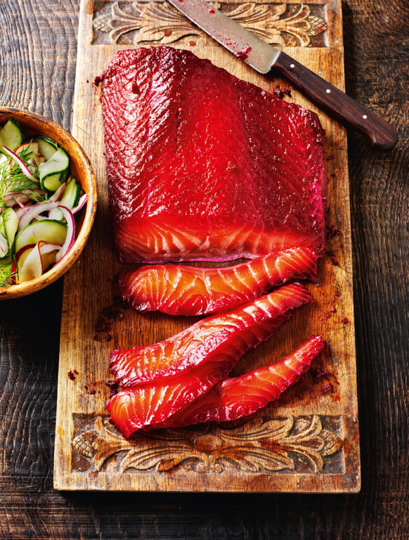 Beetroot-cured Salmon with Cucumber & Apple Pickle