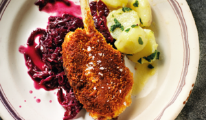 Rick Stein's Breaded Lamb Chops with Spiced Red Cabbage