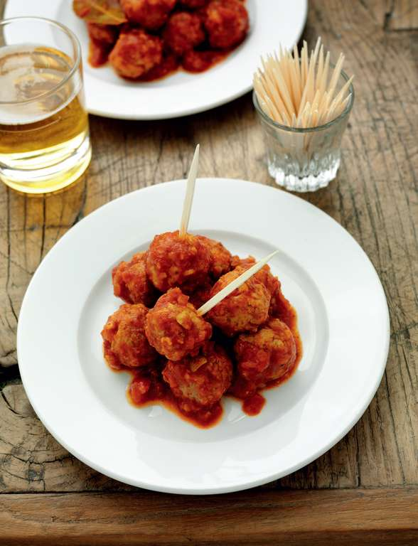 Serrano Ham, Lemon and Green Olive Meatballs in Tomato and Sherry Sauce
