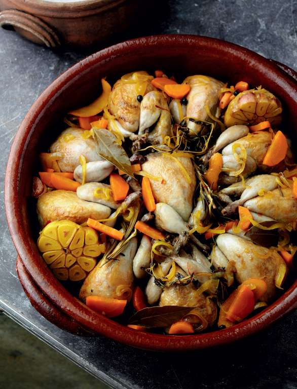Quail Marinated in Wine, Vinegar, Spices and Herbs (Codornices en escabeche)