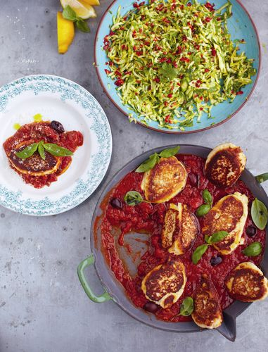 Ricotta Fritters, Tomato Sauce and Courgette Salad