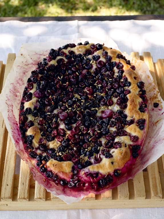 Focaccia with Black Grapes
