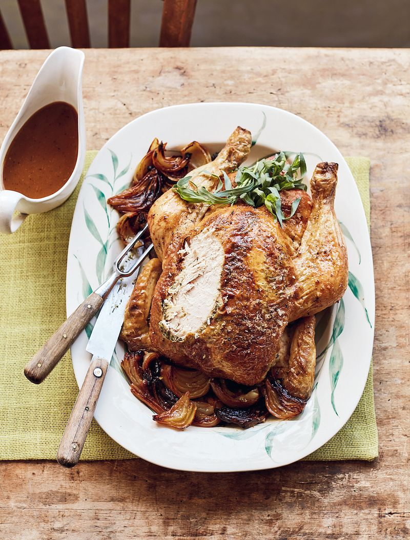 alternatives to christmas turkey Mary Berry's Roast Chicken with Tarragon Butter & Melting Onions simple comforts