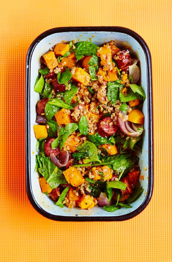 One-Tin Spelt with Chorizo, Sweet Potato, Red Onion and Spinach
