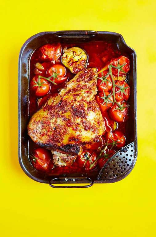 Slow-cooked Leg of Lamb with Harissa, Roasted Aubergines & Tomatoes